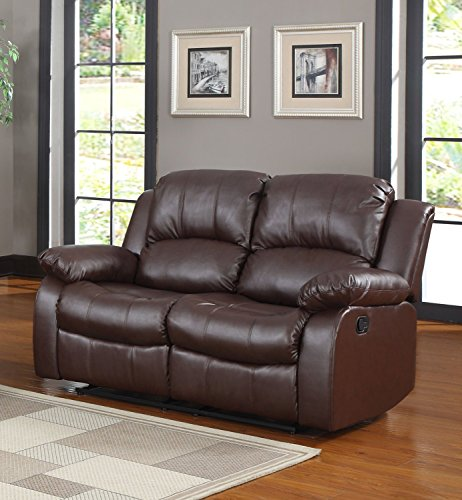 Classic and Traditional Brown Bonded Leather Recliner Chair, Love Seat, Sofa Size - 1 Seater, 2 Seater, 3 Seater Set (2 Seater) (Rv Furniture compare prices)