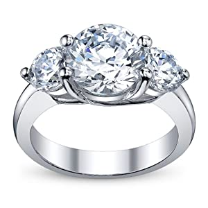 3.40 Ct Round Cut Diamond 3 Stone Engagement Ring on Platinum 2.00 ct E-F GIA Certified Center Stone