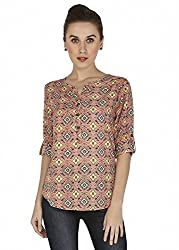 Mangosteen Pink Printed Top For Women
