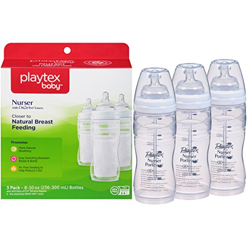 Playtex BPA Free Premium Nurser Bottles with Drop In Liners 3 Count, 8 Ounce (Playtex Baby Liners compare prices)
