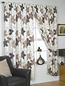 "Bruges Brown Cream Floral Lined Pencil Pleat Curtains Drapes 46"" X 54"" from PCJ SUPPLIES"