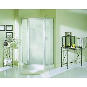 Sterling Plumbing NI3196A-38S/W Economy 38-Inch x 38-Inch x 72-Inch Corner Shower Kit with Shower Door, White/Silver