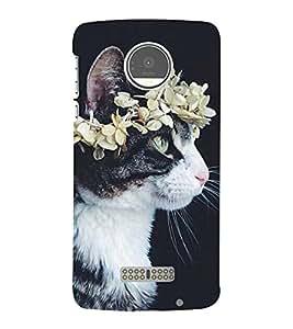 Cat with a Flower Crown 3D Hard Polycarbonate Designer Back Case Cover for Motorola Moto Z Force :: Motorola Moto Z Force Droid for USA