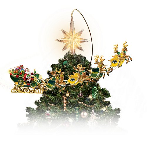 nfl licensed green bay packers holiday pride super bowl xlv rotating tree topper by the bradford exchange from steelermania - Green Bay Packers Christmas Ornaments