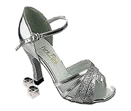 Very Fine Women\'s Salsa Ballroom Tango Latin Dance Shoes Style 6030 Bundle with Plastic Dance Shoe Heel Protectors, Silver Leather 9 M US Heel 2.5 Inch