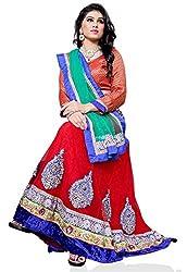 Jiya Presents Embroidered Net Lehenga Choli(Red,Beige)