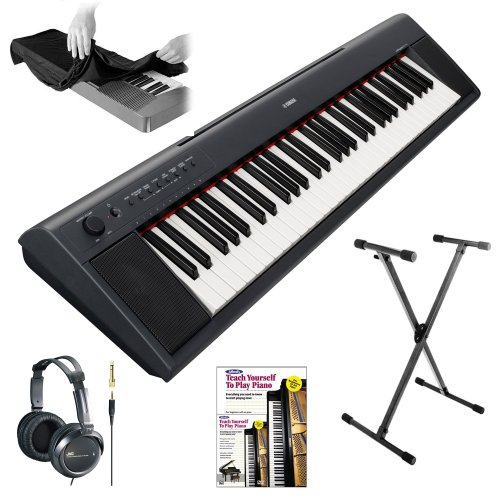 Yamaha Piaggero Np11 61-Key Lightweight Compact Portable Keyboard + 61-Key Electronic Keyboard Dust Cover, Jvc Full-Size Headphones (Black), Yamaha Keyboard Stand And Alfred'S Teach Yourself To Play Piano-Book & Dvd
