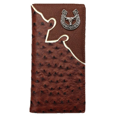 Texas Longhorn Men's Long Wallet in Ostrich/crocodile. Wn015-6 Black/brown (Ostrich Brown) at Amazon.com