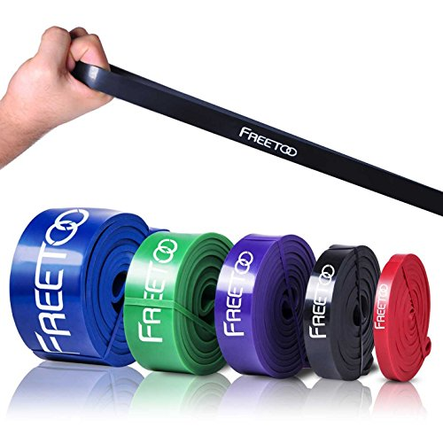 FREETOO Best Workout Rubber Band Resistance Bands Heavy Elastic 5 Levels Choose...