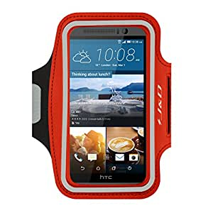 HTC One M9 Armband, J&D Sports Armband for HTC One M9, Key holder Slot, Perfect Earphone Connection while Workout Running (Red)