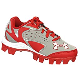 UNDER ARMOUR LEADOFF LOW RM JR GREY / RED YOUTH MOLDED BASEBALL CLEATS 1Y