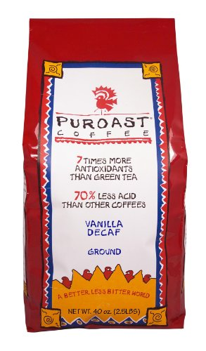 Puroast Low Acid Coffee Vanilla Natural Decaf Drip Grind, 2.5-Pound Bag