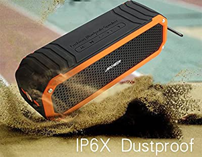 Archeer Wireless Bluetooth 4.0 Waterproof Shockproof Outdoor Speaker, Up to 12 Hour Playtime Double 5W Speaker Built-in Mic Flashlight Hands-Free Speakerphone, Work for Ipad, Iphone, Samsang, Android Smartphones, mp3 Players and Tablets