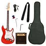 Barcelona Beginner Series Double Cutaway Electric Guitar Bundle with 10-Watt Amp, Gig Bag, Strap, and Accessories - Metallic Red ~ Barcelona