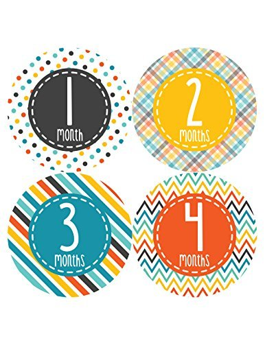 Months in Motion 347 Monthly Baby Stickers Baby Boy Milestone Age Sticker Photo