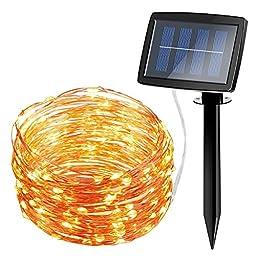Amir Starry Copper Wire 160 LED Solar String Lights, 57-Feet, Warm White