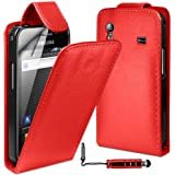 MobileAccessories4U Leather Flip Skin Case Cover, Film & Mini Stylus For Samsung Galaxy Ace S5830 - Red