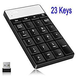 Wireless Numeric Keypad with 23 Keys 2.4G Mini USB Receiver,Mini num number keypad keyboard Pad for iMac, Macbook, Ipad/ Notebook, Desktop Compatible with ALL Windows and OS X System