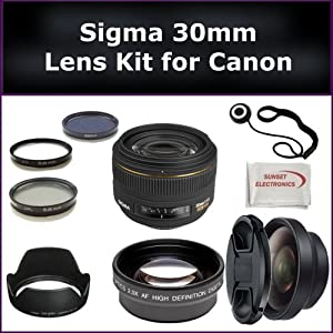 Sigma 30mm f/1.4 EX DC HSM Autofocus Lens for Canon Digital Includes: Sigma 30mm Lens, 0.45X Wide Angle Lens, 2X Telephoto Lens, Lens Cap, Lens Hood, Lens Cap Keeper, 3 Piece Filter Kit (UV-FLD-CPL) and Microfiber Cleaning Cloth