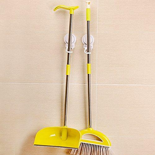 ASSIS Mop & Broom Holder-Powerful Vacuum Suction Cup Hooks Waterproof Wall Mount Broom Mop Hanger-Set of 2