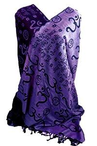 "Gayatri Mantra & Om Prayer Meditation Shawl 28"" X 72"" Rayon Doubleweave (Purple)"