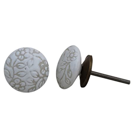 Set of 2 White Etched Flat Ceramic Handmade Door Knobs Chest Almirah Drawer Cabinet Pull Dresser Wardrobe Handle IndianShelf Online New Handcrafted An available at Amazon for Rs.166