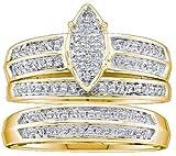 0.28 Carat (ctw) 14K Yellow Gold Round Cut White Diamond Men & Women's Micro Pave Engagement Ring Trio Bridal Set 1/4 CT