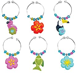 Boston Warehouse Flamingo and Friends Wine Charm, Set of 6