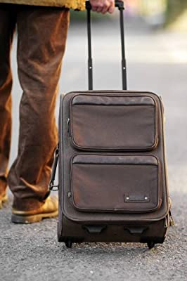 "20"" Brown Canvas Suede Carry On Suitcase Trolley Case Hand Luggage * * from Rostrad"