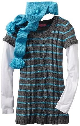 Energie Big Girls' Urmi Striped Tunic Sweater, Medium Heather Grey/Ocean Blue, Medium