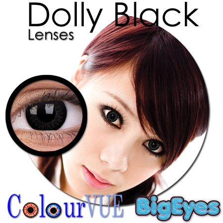 CONTACT LENSES COLOUR VUE BIG EYE DOLLY BLACK15MM FASHION ZERO LENSE PRICE INCLUDE 60ML SOLUTION + LENS CASE - 1 PAIR