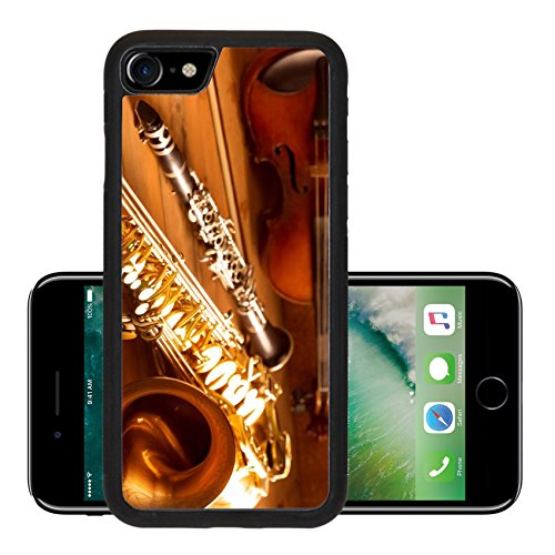 Liili Premium Apple iPhone 7 iPhone7 Aluminum Backplate Bumper Snap Case Classic music Sax tenor saxophone violin and clarinet in vintage wood Photo 17612307 (Sax Vintage compare prices)