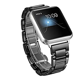 Ceramic Apple Watch Band, SOWELL Fashional Bracelet Replacement Wrist Band for Apple iWatch (Black 42MM)