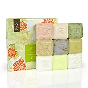 Pre De Provence Assorted Shea Butter Enriched Guest Soap Gift Set in Box - Includes Nine 25 Gram Soaps - Scented Herb