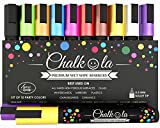 Chalkola Chalk Markers - Pack of 10 neon color pens. For Chalkboard, Whiteboard, Window, Labels, Bistro, Glass - 6mm Bullet Tip & 8g Ink