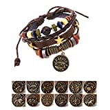 Handmade Genuine Real Leather Bracelet with Constellation Zodiac Sign Logo Charms,Color Wooden Beads,Button,Adjustable Size (Sagittarius)