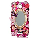 KAKA(TM) HTC case,HTC Desire 510 Case Creative Design Clear Case Bling Glitter with Mirror Butterfly Colorful Crystal Pearls Rhinestone