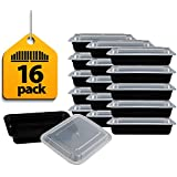Fitpacker Meal Prep Containers - 28oz Portion Control Lunch Bento Box - Reusable Microwaveable - 16 Pack