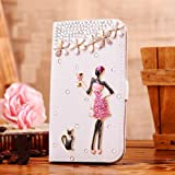 Locaa(TM) For HTC One Mini 2 (M8 mini Mini2 2014) 3D Bling Cases Deluxe Luxury Crystal Pearl Diamond Rhinestone eye-catching Beautiful Leather Retro Support bumper Cover Card Holder Wallet Case - [General series] goblet girl