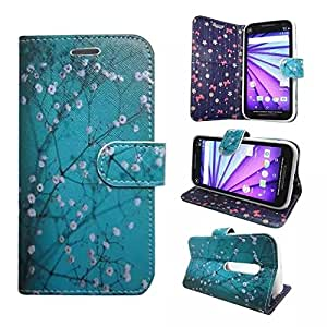 Motorola Moto G3 3rd Generation Case, Customerfirst Wallet Case, Luxury PU Leather Credit Card Case Flip Cover Built-in Card Slots & Stand For Motorola G3 (3rd Gen) (Blossom Teal)