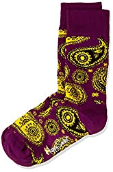 Happy Socks Men's Paisley Calf Socks (8904214908164_PA01-055_Large_Purple)