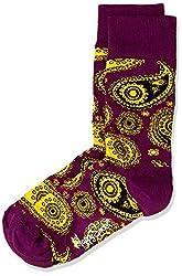Happy Socks Men's Paisley Calf Socks (8904214908164_PA01-055_Large_Purple)