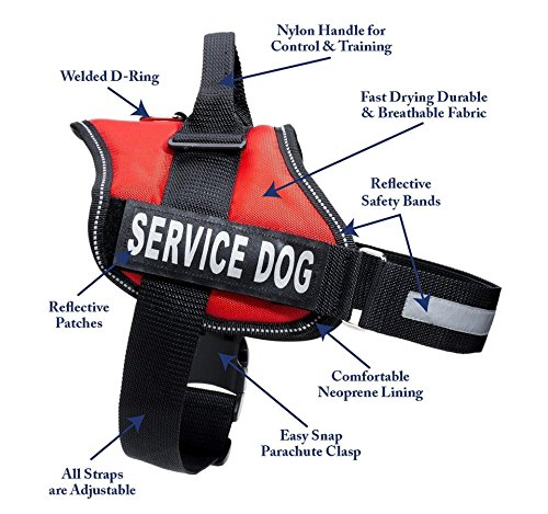 Service Dog Harness With Velcro Straps and Handle   Available In 7 Sizes From Extra Small to Extra Large   Vest Features Reflective Patch and Comfortable Mesh Design From Industrial Puppy (Service Dogs Training compare prices)
