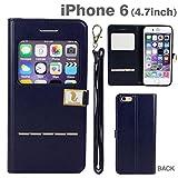 iPhone6s iPhone6 ケース 窓付き 手帳型 カバー Hello Deere スタンド ストラップホール付き / ブラック