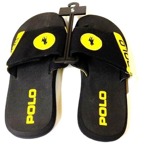 Polo Ralph Lauren Men'S Black/Yellow Flip Flop Sandals Large Pony Logo 11D front-1008842