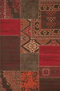 "Very Large Classic Traditional Kilim Patchwork Design in Burgundy 190 x 280 cm (6'3"" x 9'3"") Carpet from Lord of Rugs"