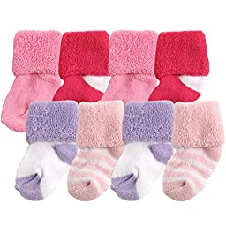 Luvable Friends 8-Pack Newborn Socks in Washbag, Pink