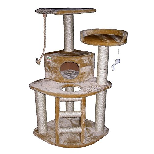 Go Pet Club Cat Tree Condo House, 32W x 25L x 47.5H Inches, Beige