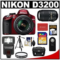 Nikon D3200 Digital SLR Camera & 18-55mm G VR DX AF-S Zoom Lens (Red) + 55-300mm VR Lens + 16GB Card + Flash + Case + Filters + Remote + Tripod + Accessory Kit