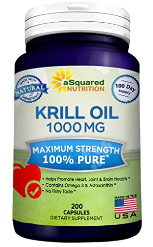 Pure Krill Oil 1000mg w/ Astaxanthin & Omega 3 xl (200 Capsule Supplements) Antarctic Sourced Rich in DHA & EPA & Phospholipids, Compare to Omega 3 6 9 Fish Oil Fatty Acids, 100% Purified No Mercury (Omega 3 Fish Oil 300 Epa 200 Dha compare prices)